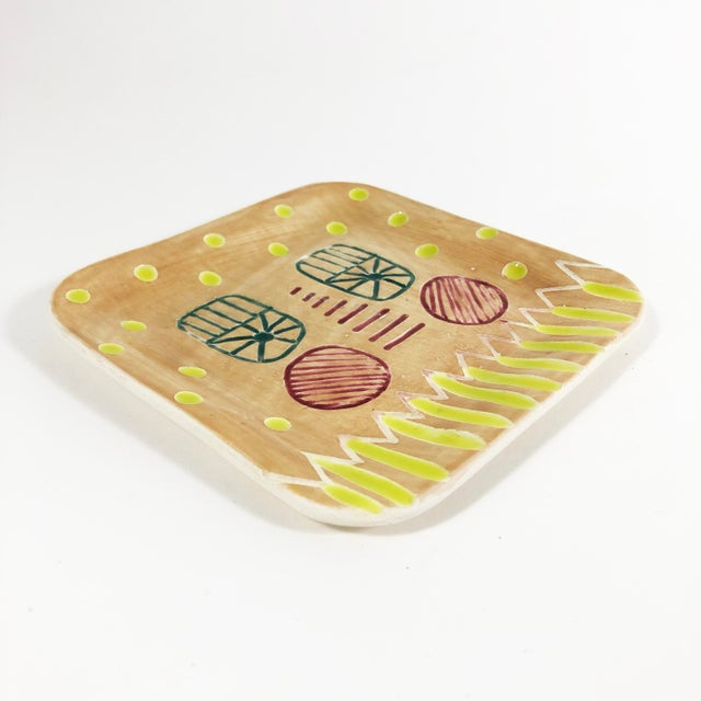 """Hand carved and painted ceramic trays for all your bits + bobs 5"""" x 5"""" square Food Safe Dishwasher + microwave safe"""