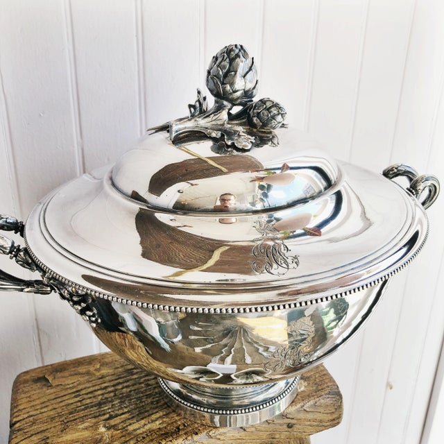 Antique Christofle Silver Tureen With Armorial Engraving For Sale - Image 9 of 13