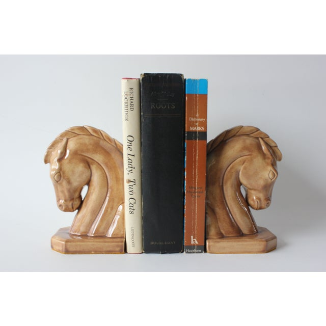 Caramel Ceramic Horse Head Bookends - A Pair - Image 5 of 6