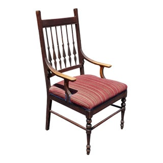 Antique French Country Burgundy Red Stripped Chair Arrow Spindles Farmhouse Chic For Sale