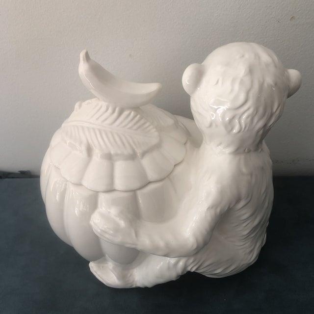 Ceramic Vintage Italian White Porcelain Monkey Tureen For Sale - Image 7 of 8