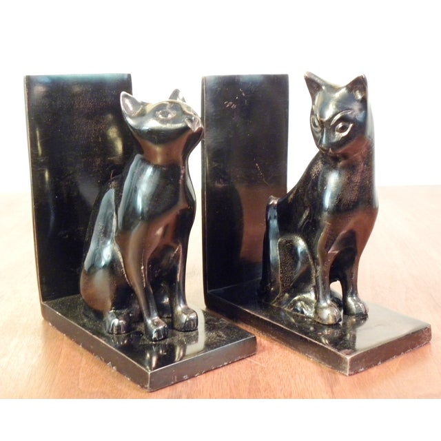 Vintage Mid Century Black Cat Bookends - Pair - Image 3 of 7
