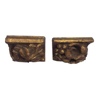 19th Century Gold Giltwood Carved Shelves - a Pair For Sale