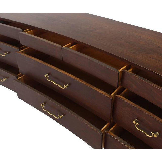 Wood Vintage Mid-Century Concave Walnut Dresser For Sale - Image 7 of 10