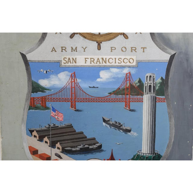 """Americana """"Army Port, San Francisco"""" 1945 Outsider Art Oil Painting For Sale - Image 3 of 10"""