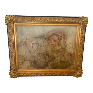 Large Ethereal Figural Painting With Impressive Frame For Sale