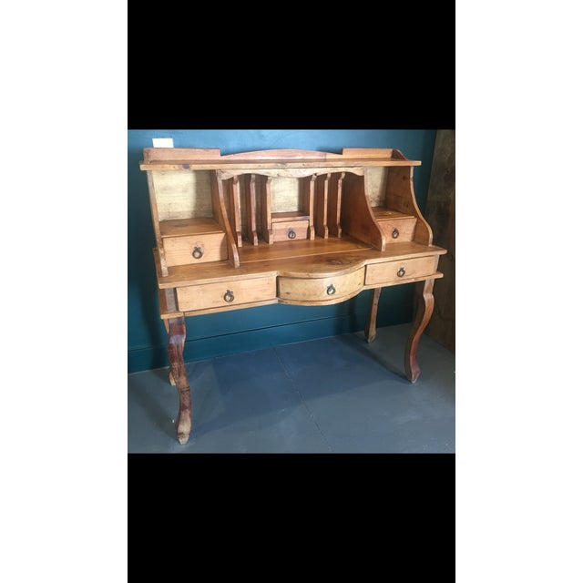 1970s French Country Louie XV Provincial Writing Desk With Hutch For Sale - Image 12 of 13