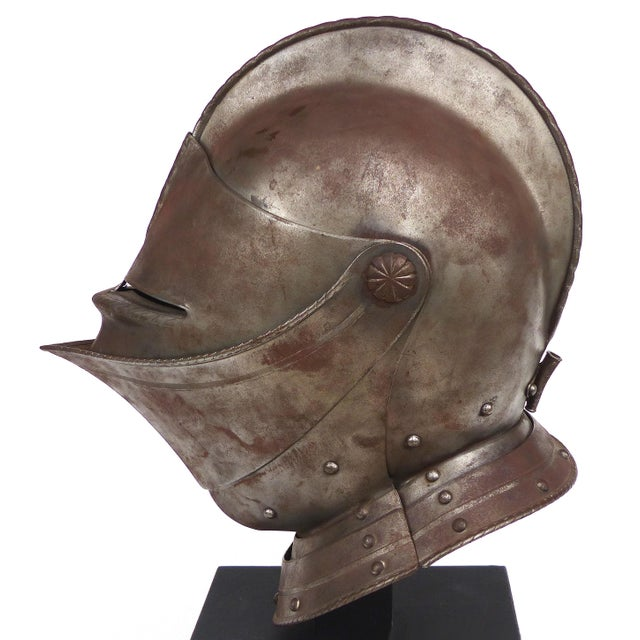 Gothic Antique Steel Jousting Presentation Helmut From Ibm Ceo Jacques Maisonrouge For Sale - Image 3 of 13