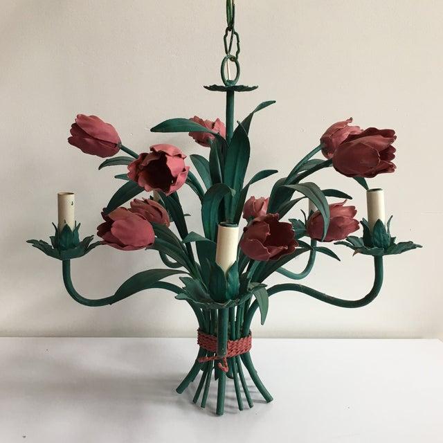 Italian tole tulip chandelier chairish italian tole tulip chandelier image 2 of 11 aloadofball Images