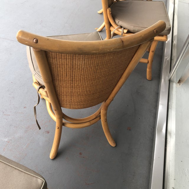 1970s Vintage Pagoda Style Rattan Dining Chairs- Set of 4 For Sale - Image 11 of 12