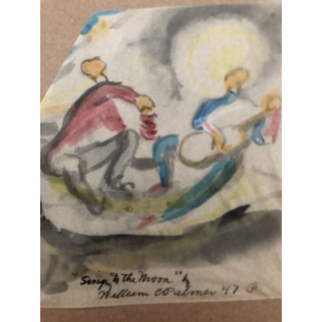 """Figurative """"Singing to the Moon"""" Painting by William Palmer, 1947 For Sale - Image 3 of 4"""