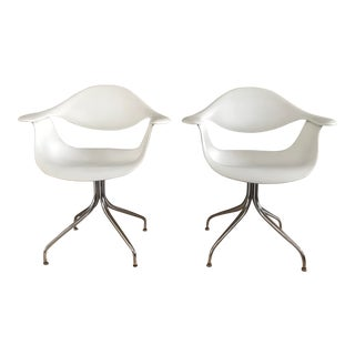 Modern George Nelson Swag Leg Armchairs- A Pair For Sale