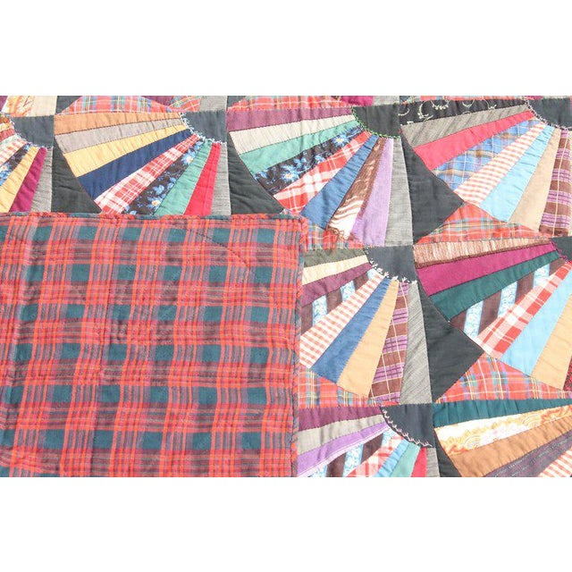 19th Century Crazy Fan Quilt For Sale - Image 10 of 11