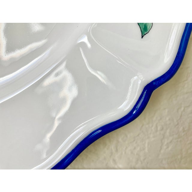 1980s Scalloped Border Hand Painted Bluebird Earthenware Platter Made in the Philippines For Sale In Kansas City - Image 6 of 12