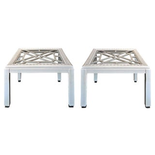 White Vintage Regency Embossed Side Tables - A Pair