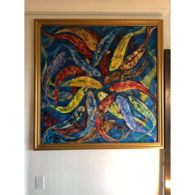 Blue 1990s Koi Fish Painting, Framed For Sale - Image 8 of 9