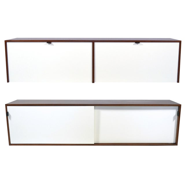 Pair of Florence Knoll Walnut Wall Mounted Credenzas or Cabinets For Sale