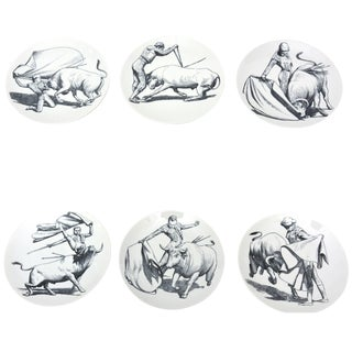 1950s Piero Fornasetti Porcelain Bullfight Plates - Set of 6 For Sale