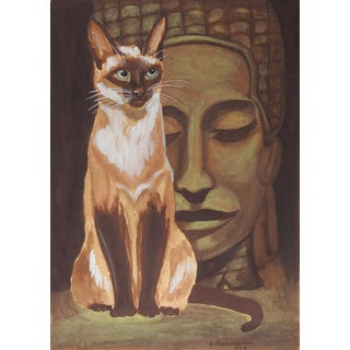 Mid Century Siamese Cat & Buddha Painting For Sale