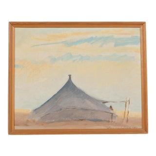 1980's Primitive Native American Hut Impressionist Landscape For Sale