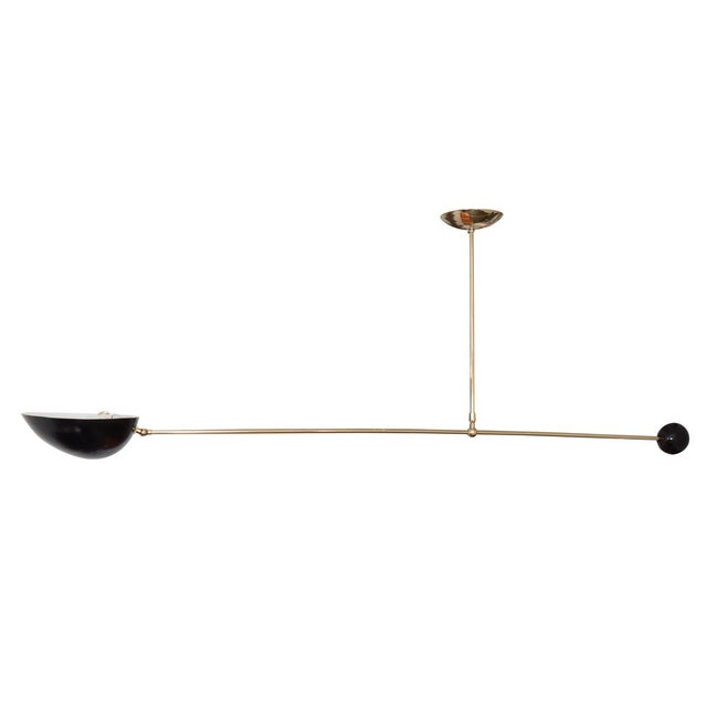 Single Arm Brass and Black Enamel Ceiling Fixture For Sale