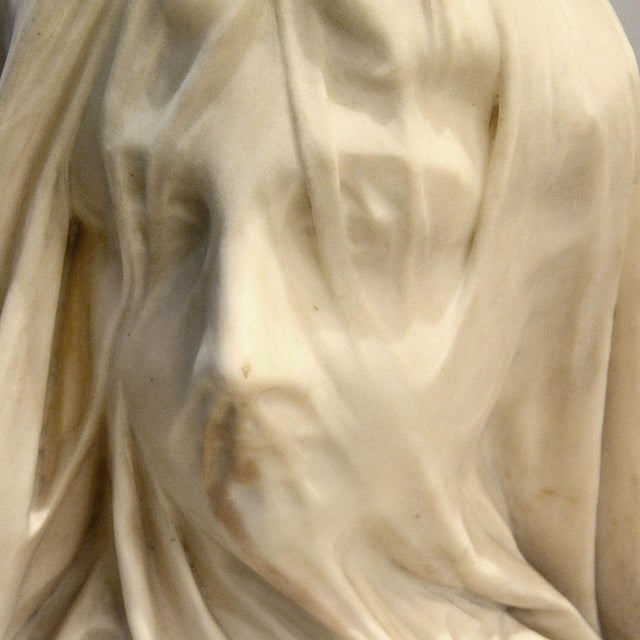 Religious Marble Bust of a Veiled Maiden Signed by Raffaello Monti For Sale - Image 3 of 4