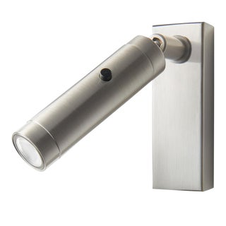 Brushed Nickel LED Focus Wall Reading Light With Rectangular Backplate For Sale