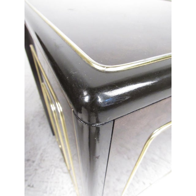 Gold Pair of Mid-Century Brass and Burl Nightstands by Bernhard Rohne For Sale - Image 8 of 13