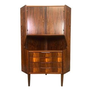 Vintage Danish Mid Century Modern Rosewood Corner Cabinet For Sale