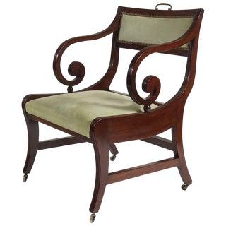 English Regency Klismos Form Armchair or Library Chair, Circa 1815 For Sale