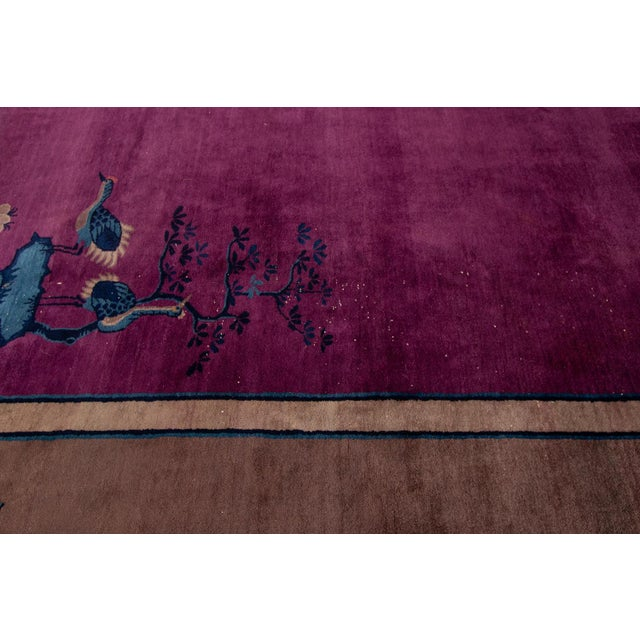 Textile Antique Purple Chinese Mandarin Wool Rug 9 Ft 9 in X 16 Ft 3 In. For Sale - Image 7 of 11