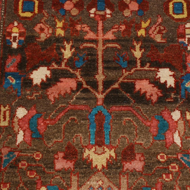 """Anglo-Indian Vintage Bidjar Brown and Pink Wool Runner Rug With Blue Accents - 2'7"""" x 7'8'"""" For Sale - Image 3 of 7"""