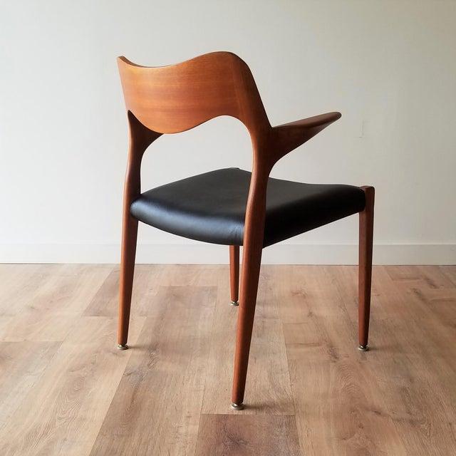 J.L. Møllers Møbelfabrik 1960s Newly Upholstered Niels Moller Model 55 Dining Chair For Sale - Image 4 of 13