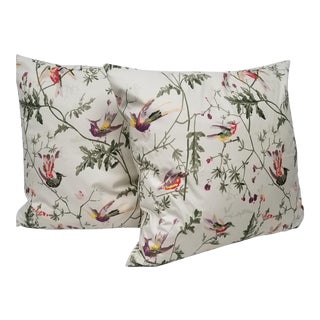 Rose Leaf and Hummingbird Square Pillows - A Pair For Sale