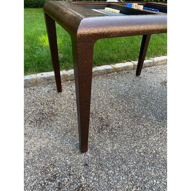 Vintage Karl Springer Grasscloth Covered Backgammon Table For Sale In New York - Image 6 of 11