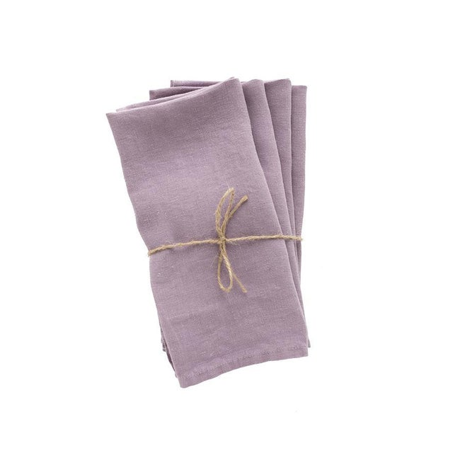 French Madame de la Maison Lavande Linen Napkins - Set of 4 For Sale - Image 3 of 3