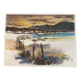 Original Unframed Watercolor Seascape Painting For Sale