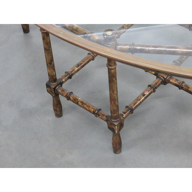 Hollywood Regency Faux Bamboo Tray Top Table For Sale - Image 3 of 6