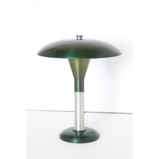 Signed, post Art Deco, Mid Century spun & anodized aluminum two-tone portable table lamp. Patented 1949 /1950 Design by...