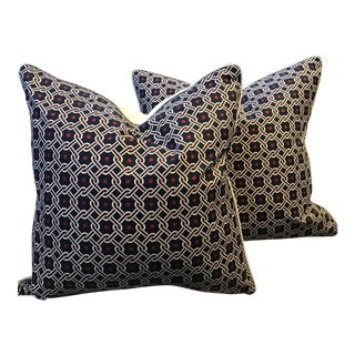 "Pair of Hermes 24"" Luco Imprime Linen Pillows - a Pair For Sale"