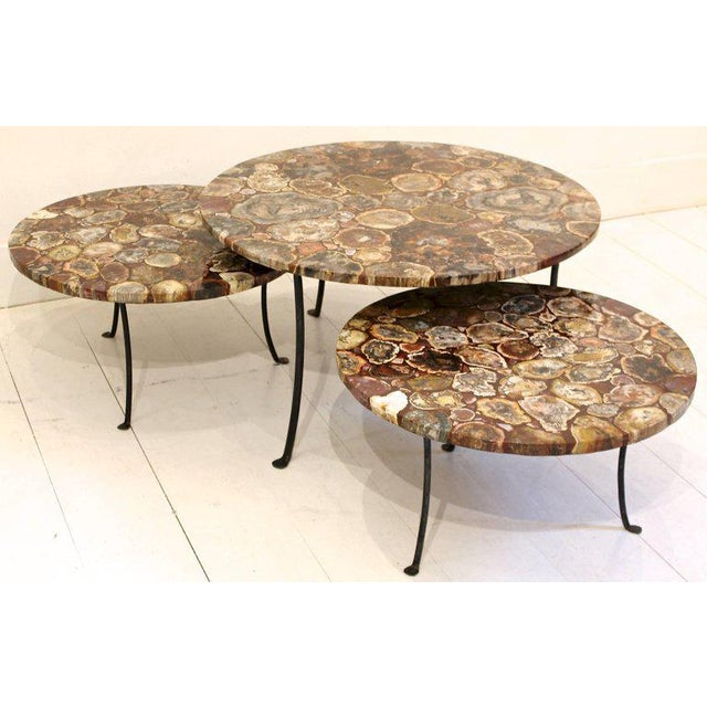 Set of Four Petrified Wood and Wrought Iron Coffee Tables For Sale - Image 10 of 10