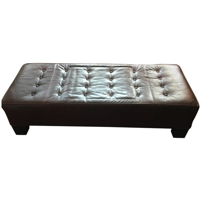 Restoration Hardware Leather Bench - Image 1 of 5