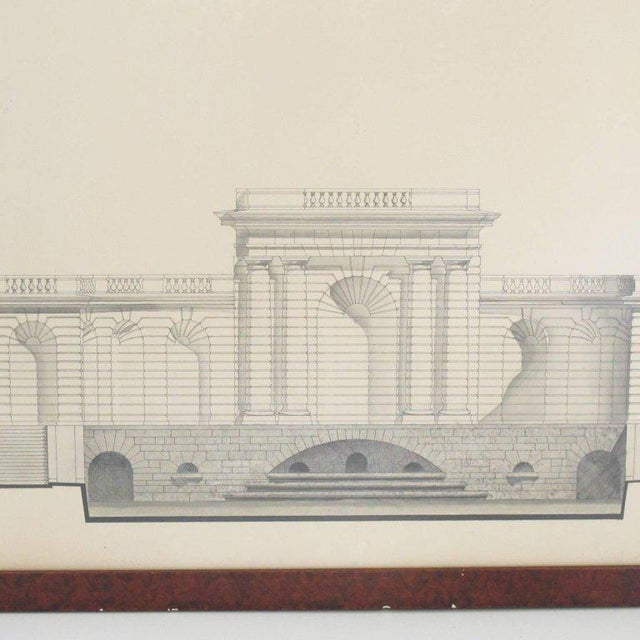 Stunning large view of original architecture sketches study concerning French Renaissance buildings from the Place des...