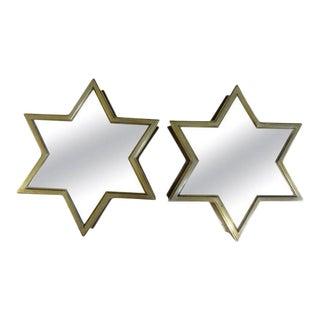 Italian Mid-Century Brass Star Mirrors-Pair For Sale