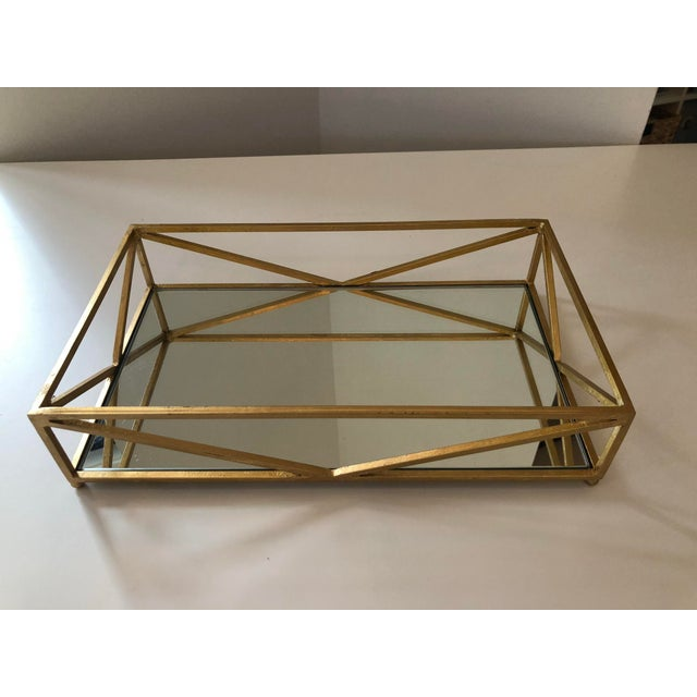 Contemporary Iron Tray With Inset Mirror in Golf Leaf For Sale - Image 9 of 9