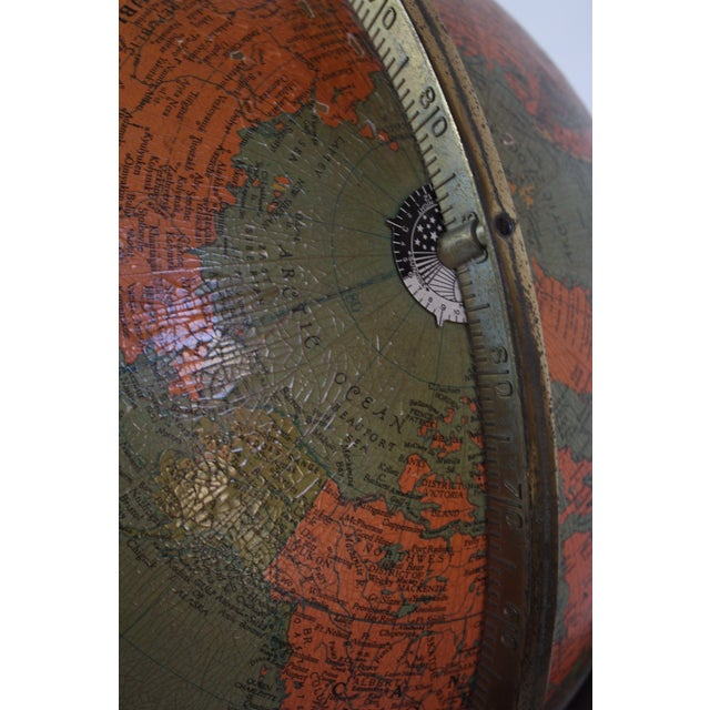 1960s Replogle Illuminated Glass Globe on Mahogany Stand For Sale - Image 10 of 13