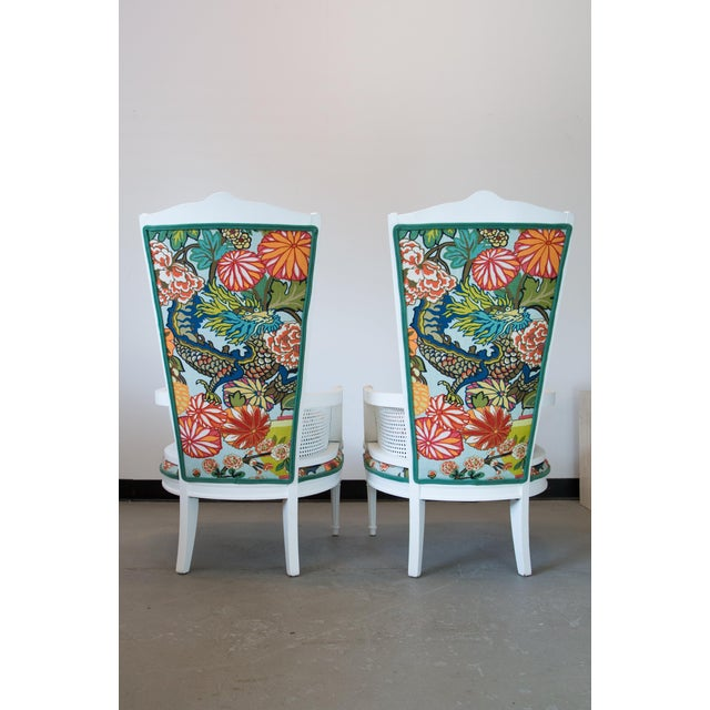 Vintage Caned Chairs in Schumacher Chiang Mai Dragon For Sale - Image 4 of 9