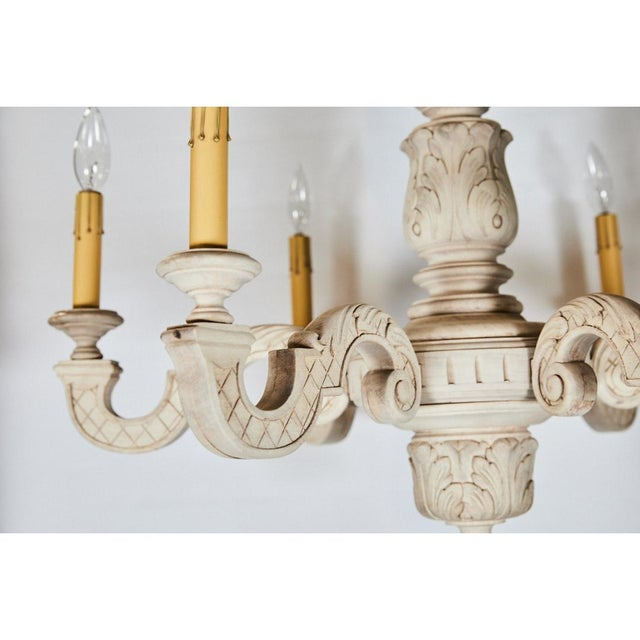 French French Bleached Oak Chandelier For Sale - Image 3 of 8