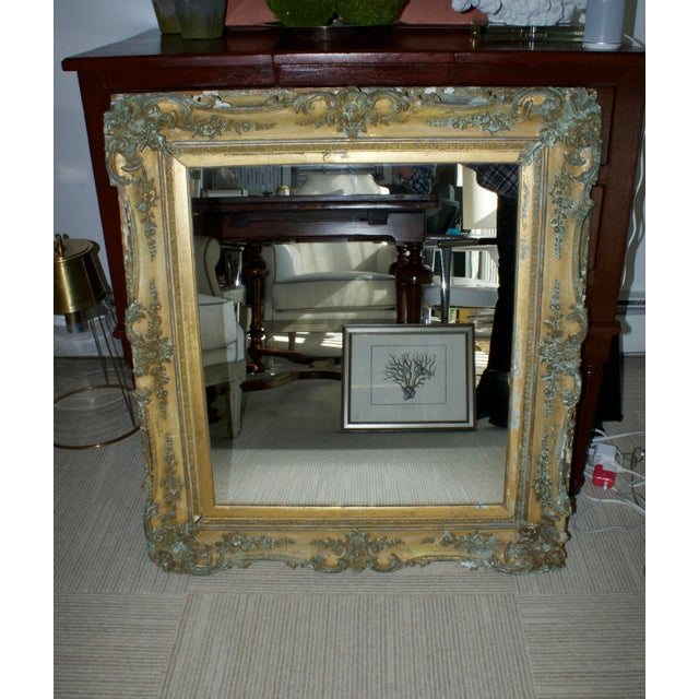 Our favorite find! Amazing 1800s gold mirror with stunning patina. Shipping not included. The buyer is responsible for the...