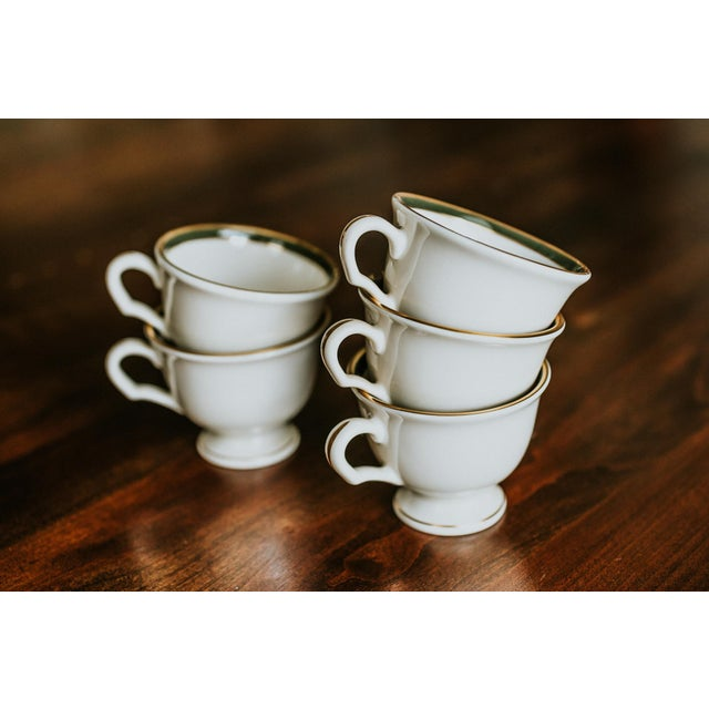 Pickard Green and Gold Accent China Mugs - Set of 5 For Sale - Image 6 of 6